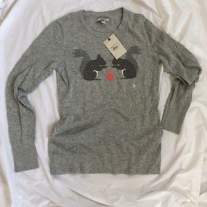 Bass heather grey light sweater with squirrels